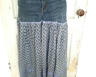 Upcycled-Jean Skirt-Small/Medium-Boho Jean Skirt-Repurposed Clothing-Artsy-Eco-Bohemian-Recycled Denim Skirt