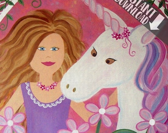Instant Download Kids Art Print of Unicorn Princess Painting - Girls Kid Wall Art - Baby Nursery, Child & Teen Room Decor -PRINTABLES by TLW
