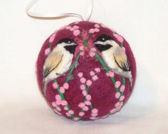Needle Felted Christmas Ornaments Chickadee Birds - Burgundy - Bird Ornaments - Bird on Berry Bush - Felt Christmas Ornament - Gift Item