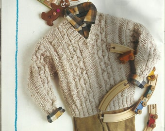 """PDF Knitting Pattern V Neck Sweater with Moss St and Cables, 12Ply, Sz 24-30"""""""