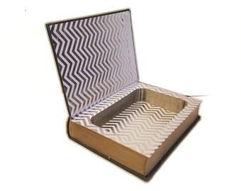 Hollow Book Safe QuickSilver Quick Silver Cloth Bound vintage Secret Compartment Security hiding place