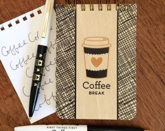 Coffee Lover Gift Set - Wood Mini Notebook & Pen Set - Gift for Coffee Lover - Gift for Barista - Stocking Stuffer - B1003