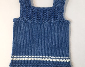 Cotton Baby Vest or Singlet - blue with white stripes - 3 to 6 months