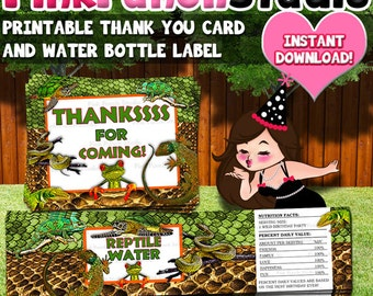 Printable Reptile Lizard Turtle Snake Party Water Bottle Label and Thank You Cards INSTANT DOWNLOAD
