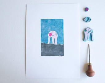 The Bather   linocut, print, linoprint, linocut, wall art, handprinted, rubberstamp, printmaking, original, A4