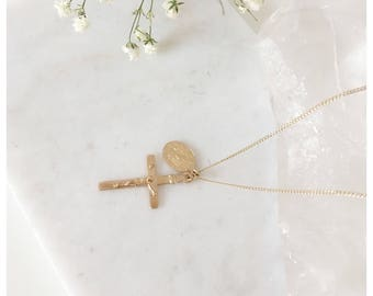 Cross Necklace,Virgin Mary Cross Necklace,Mary Necklace, Gold Mary Cross Necklace,Cross Necklace,Gold Cross Necklace,Layering Cross Necklace