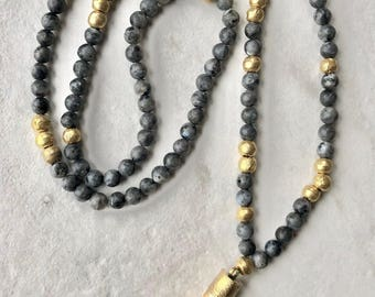Long Beaded Necklace / Bone Tusk Pendant- Gold / Black / Gray Laboradite Gemstones / Boho Jewelry / Womens Statement Necklace / Handmade
