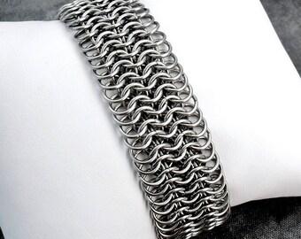 Wide Stainless Steel Chain Mail Mesh Cuff Bracelet - Handmade Dark Silver Tone European 6-in-1