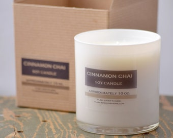 Cinnamon Chai Soy Candle White Glass Tumbler 10oz - cinnamon candle - chai tea candle - food soy candle - fall soy candle - holiday candle