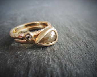 Conflict Free Diamond Engagement Ring  Rose Cut 14K Yellow Gold Hand Forged, Diamond Accent Band. One of a kind. Ready to Ship, size 6.