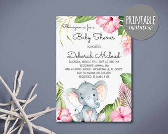 Elephant baby shower invitation girl safari baby shower elephant baby shower invitation girl baby shower invitation safari baby shower invitation floral baby shower filmwisefo Images