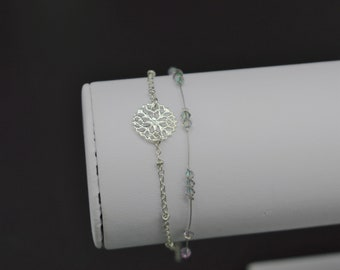 Bracelet double silver and Crystal swarovski M174 pearls