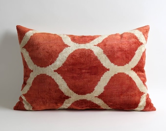 Red velvet pillow cover Handwoven silk velvet ikat Terra Cotta Velvet lumbar pillow case