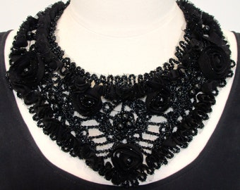 Statement necklace bib necklace black lace necklace applique necklace pearl necklace ribbon necklace evening-Midnight Garden Necklace