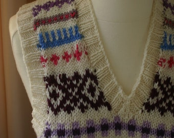 Merino wool hand knitted retro Fair Isle design vest/tank top/pullover - his/hers - four sizes
