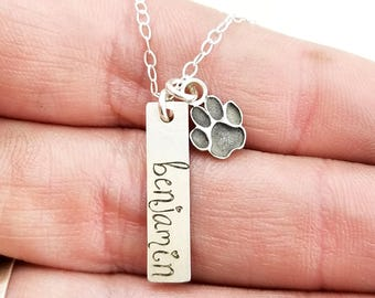 Personalized Pet Jewelry · Custom Name Necklace · Paw Print Necklace · Pet Memorial Jewelry