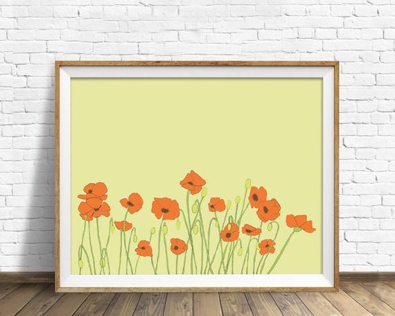 Poppies - red poppies, art print, wall art, flowers, large art, wall art print, yellow, large wall art, fine art print, nursery decor, art