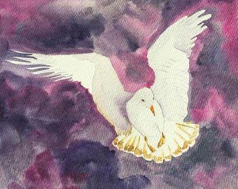 White Peace Dove Painting Seagull Original Painting Marine Bird Artwork Ocean Gull Nursery Art White Dove Office Decor Original watercolor