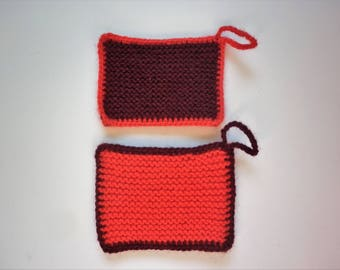 Set of 2 tawashis / washable sponges - Rectangle - red / Burgundy