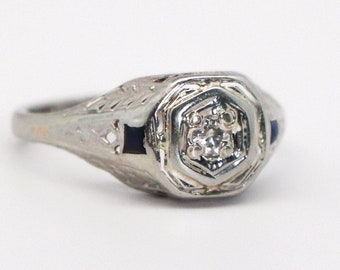 Vintage Diamond Ring - 14K White Gold 0.08 CT - 1920s Art Deco Size 6-1/2 Filigree Bridal Engagement Fine Jewelry