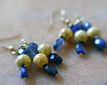 Iolite Earrings, Blue and Gold Earrings, Iolite Gemstone Cluster Earrings, Blue Gemstone Jewelry, JewelryFineAndDandy, Gift for Her, SRAJD