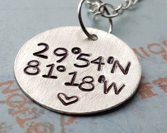 Custom Coordinates Necklace in Sterling Silver • Location GPS Coordinates, Latitude Longitude • Wedding or Anniversary Gift