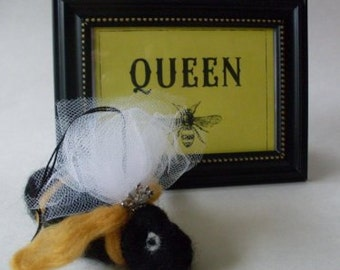 Queen Bee Needlefelted Ornament  Beaconhillcollect  We Ship Internationally
