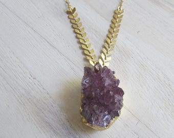 Amethyst drusy necklace