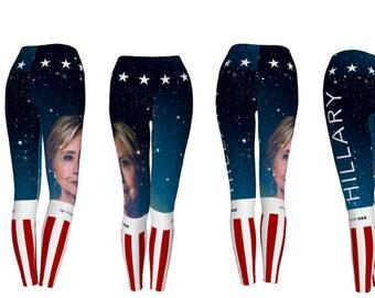 Hillary Clinton High Waist Election Leggings, Eco Friendly Yoga Pants, Galaxy Leggings, Universe Leggings, Star Pantsd