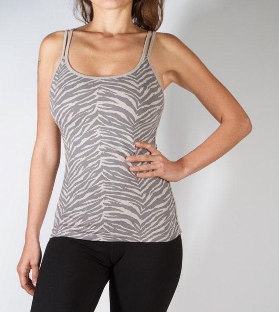 CROSSBACK TOP SPORTY Top Grey Zebra Yoga Top Yoga