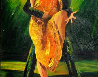 Tango art print on paper, Couple dancing Argentine tango, Orange and gold dress with green background, valentine gift, Free shipping