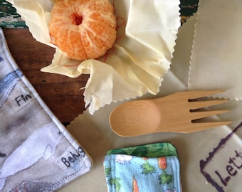 Zero waste lunch kit, kids lunch utensils, bring your own set, Beeswax wraps, non plastic, eco friendly lunch, cloth napkins, bamboo spork