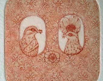 Etching - love etching - bird etching - bird art - printmaking - fine art etching - original etching - original art - 'He and She'