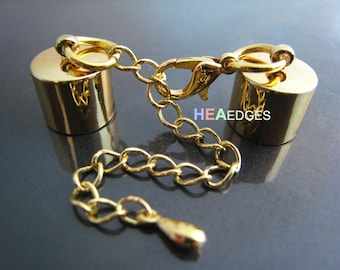 2 Sets Gold End Caps 10mm - Findings Gold Plated Leather Cord Ends Cap With Lobster Clasp Buckle and Extender