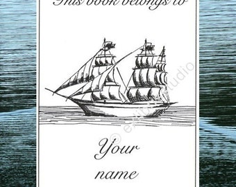 Booklabels Ancient Sailing Yacht 15 Personalized Ex Libris Bookplates