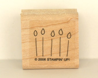 Candles Rubber Stamp Birthday Candles Rubber Stamp Wood Block Rubber Stamp Stampin Up Crafts