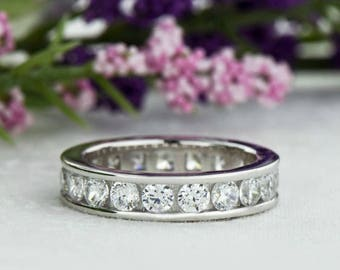 2 ctw Full Channel Set Eternity Band, Round Wedding Band, Engagement Ring, 3mm Man Made White Diamond Simulant, Bridal Ring, Sterling Silver