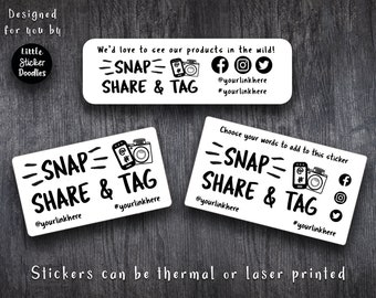 Snap share tag photo stickers, social media sharing labels, tag your products, tag your photos, business stationery, wedding photographs