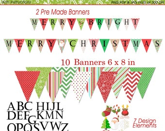 Christmas Cheer DIY Printable Banner Pack  Pack -Instant Download - Christmas /Holiday Printables -Christmas Party Supplies