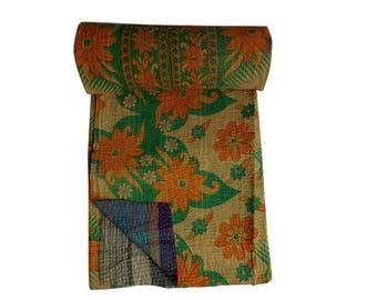 Reversible Indian Cotton Sari Quilt Vintage Handmade Kantha Blanket