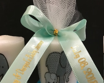 Neutral Baby Shower Favors,  Grey and mint elephant favors, Candle Favors,  Favors, Whale themed Favors, Baptism , Holy Communition Favors