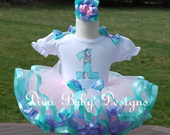 Pink lavender and aqua baby girls first second third birthday dress Carousel horses ribbon trimmed tutu set, pastel birthday outfit