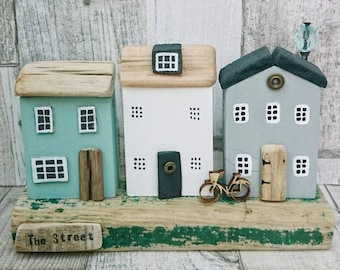 Street Scene, Driftwood House, Driftwood Art,  Wooden House, Wood Sculpture, Driftwood Sculpture, Original Art, Diorama, Recycled Wood Art