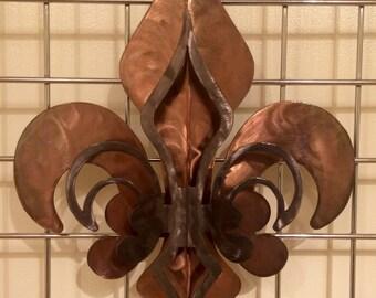 2- Part Open Copper & Pewter Fleur De Lis