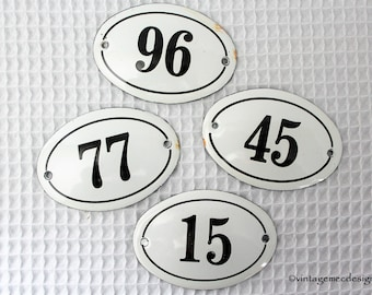 French Enamel Oval Numbers