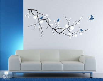 Cherry Blossom Branch Wall Decal with Birds  - Vinyl Wall Art Custom Home Decor