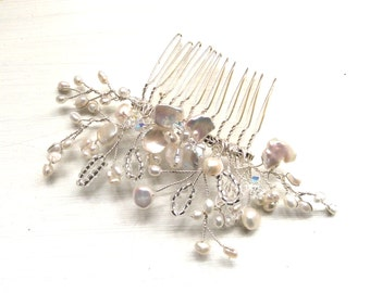 Bridal hair comb, hair accessories, hairpiece, wedding comb, bridal comb, handmade freshwater pearl swarovski crystal
