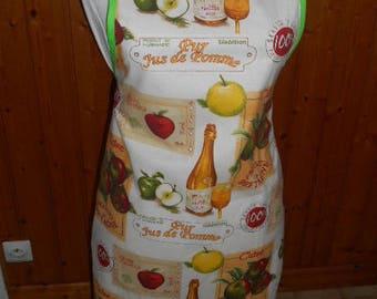 Adult cotton apron 'Apple Cider - Apple juice'