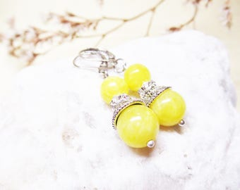 Jade Earrings Yellow Jade Earrings Dangle Beaded Earrings Gemstone Earrings Romantic Earrings Summer Earrings Yellow Earrings Gift for Her