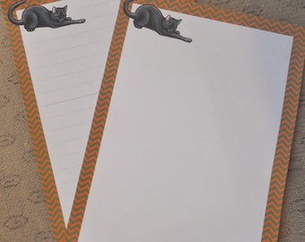 Letter paper - cute black cat drawing - animal writing paper